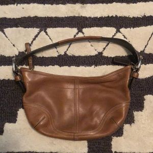 Authentic soft brown leather Coach shoulder bag